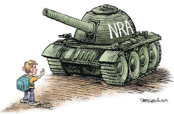 Green army tank with the letters NRA on the side, gun pointed toward young child with backpack, holding up hand and stopping tank.
